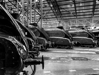 Six LNER A4 locomotives in National Railway Museum the former York North Roundhouse