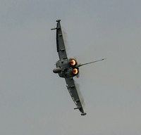 Euro Fighter Typhoon FGR4 AX352 displays above RAF Marham