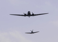 BBMF D-Day tribute Dakota ZA947 & Spitfire MK356