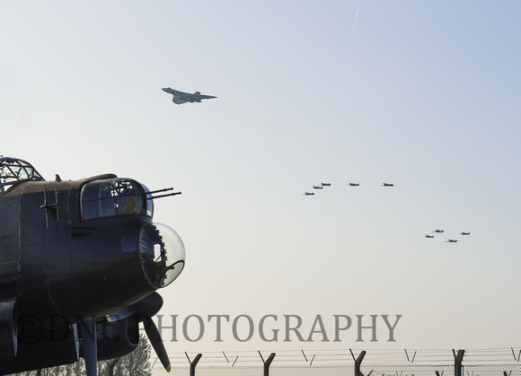 Vulcan, Spitfires and Hurricanes fly over Lancaster