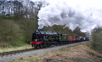 LMS 46100 Royal Scot approaches Darnholm with the demonstration freight